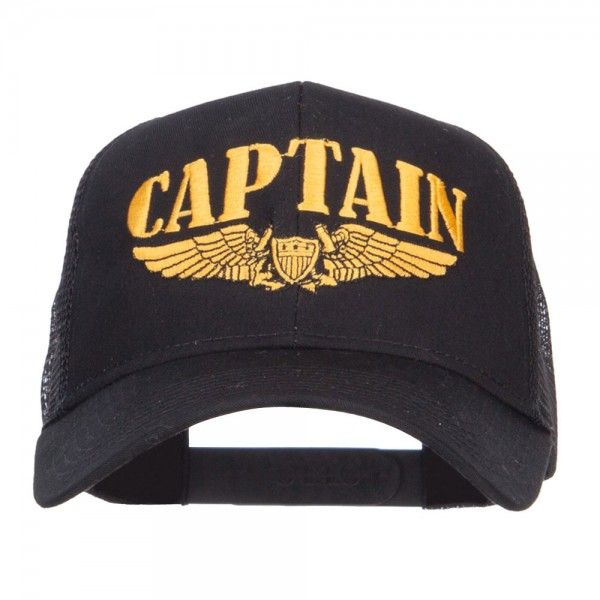 Embroidered Cap Black Captain Wing Embroidered Cap