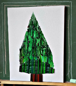 Christmas Tree Melted Crayon Art