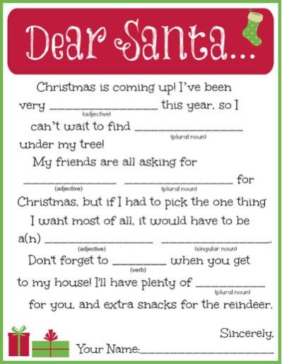Printable Letter to Santa Madlib