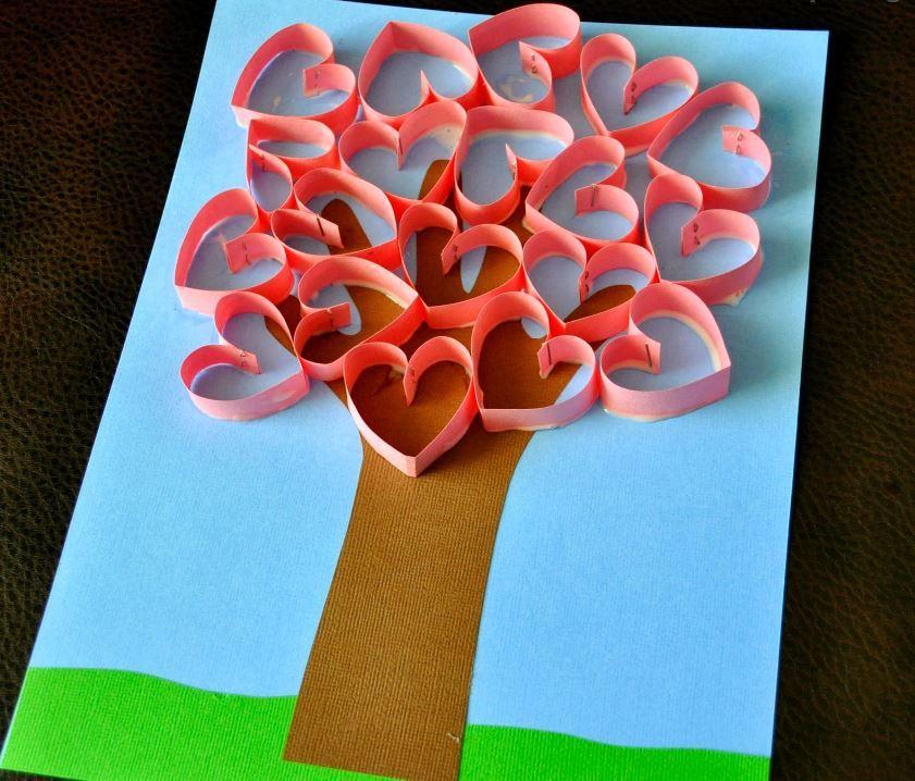 Valentine Handprint Art Tree