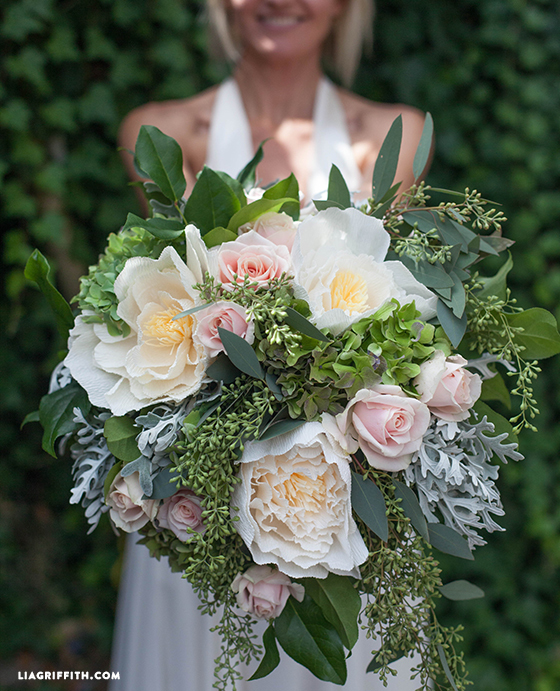 Bridal Bouquet with Fresh and Crepe Paper Flowers ...