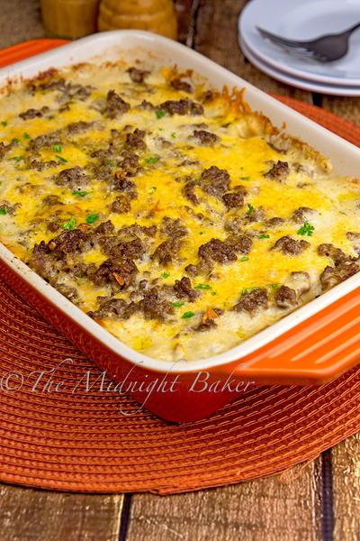 Cheesy Beefy Potato Casserole | AllFreeCasseroleRecipes.com