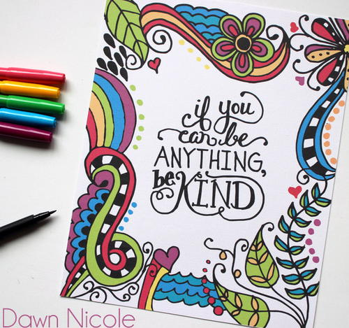 be kind coloring page  favecrafts