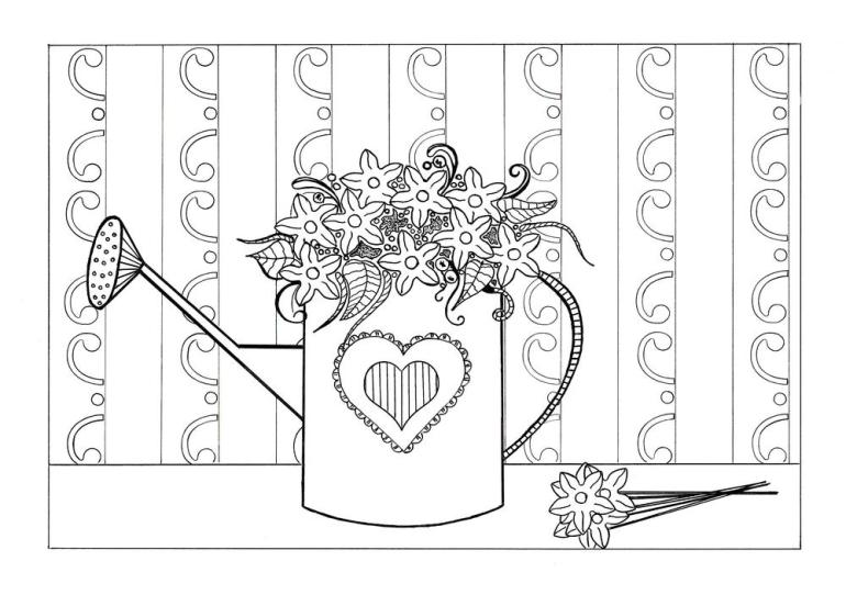 Spring Flowers Adult Coloring Page | FaveCrafts.com | spring flower coloring pages