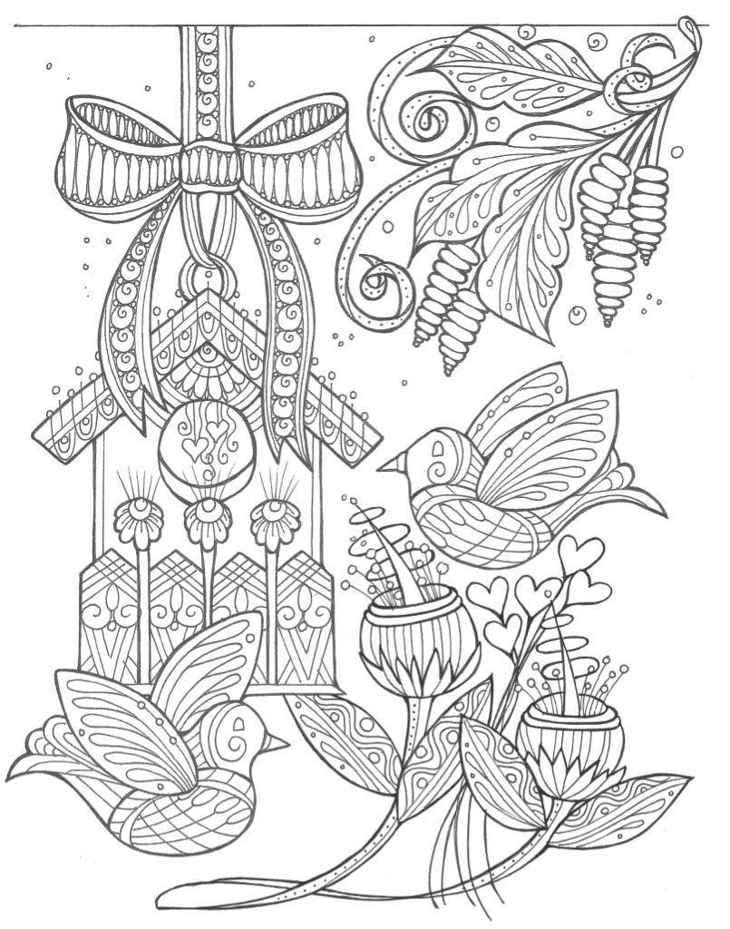 Birds and Flowers Spring Coloring Page | FaveCrafts.com | spring flower coloring pages
