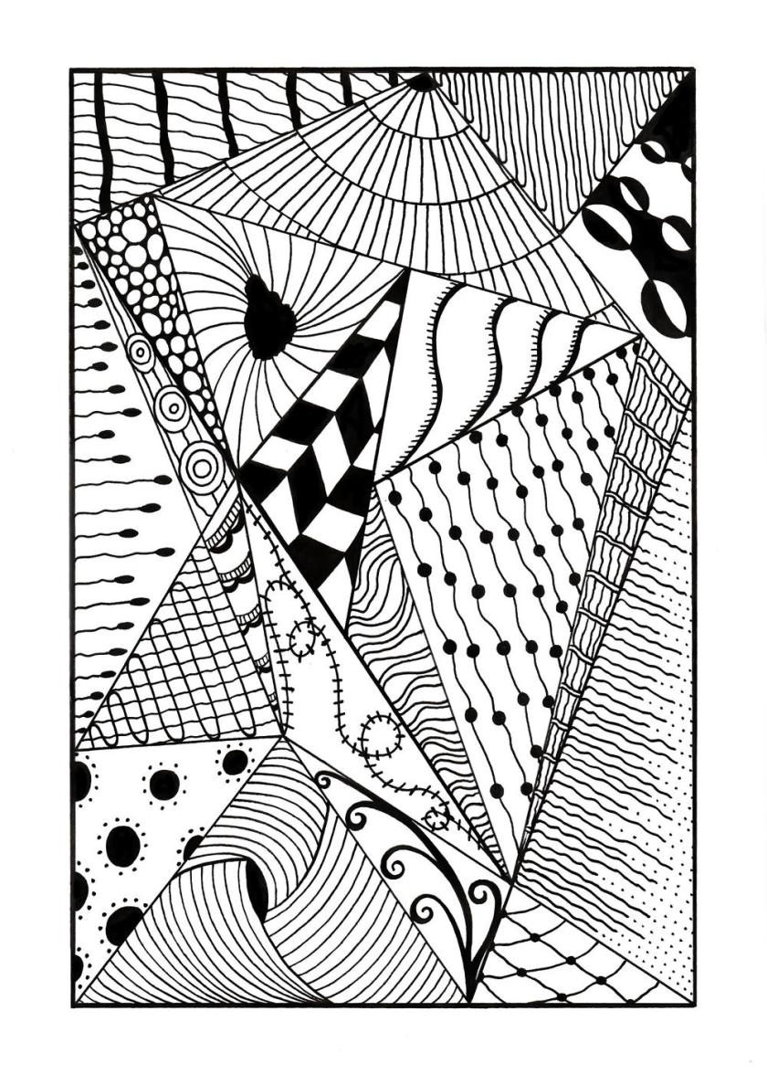 trippy zentangle triangles adult coloring page