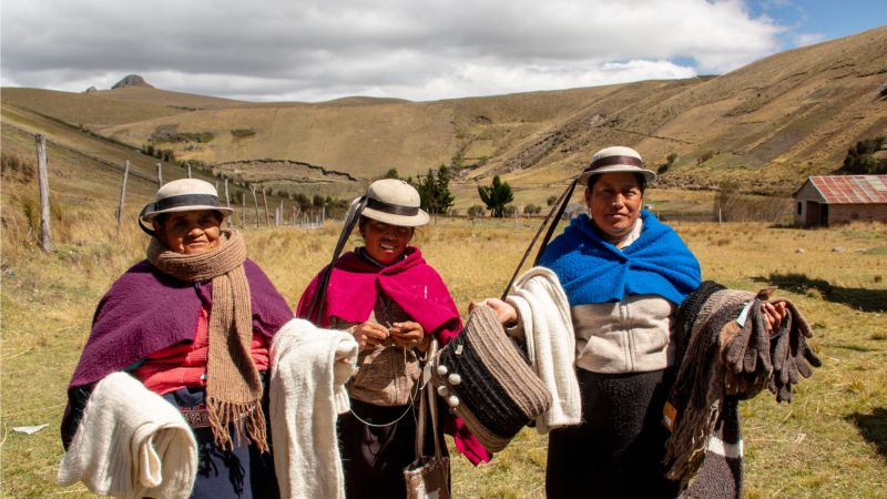 femmes équatoriennes avec leurs produits de fibre d'alpaga