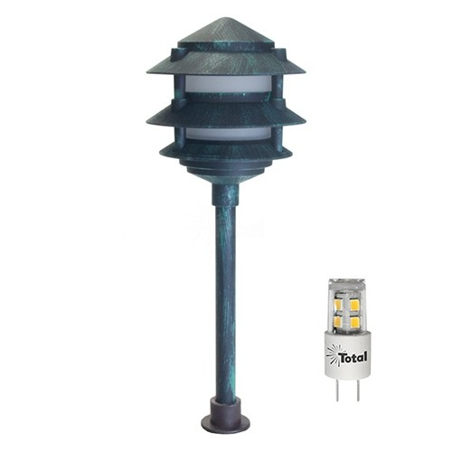 led outdoor landscape lighting verde green 3 tier pagoda path light warm white low voltage