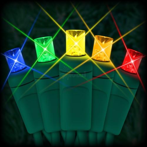 "led multi color christmas lights 50 5mm mini wide angle led bulbs 6""  spacing 23ft green wire 120vac"