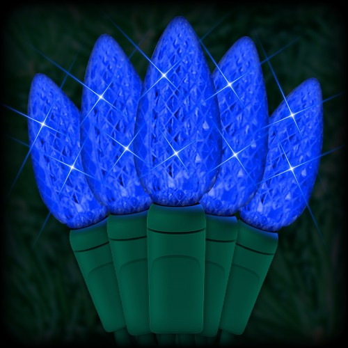 "led blue christmas lights 50 c6 led strawberry style bulbs 6"" spacing  23ft green wire 120vac"