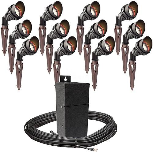 https www totalledmalibulighting com pro led outdoor landscape lighting 12 spot light kit emcod 100watt power pack photocell mechanical timer 160 foot cable html