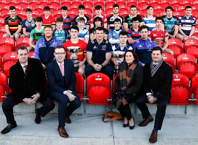 The captains from the Munster Schools Senior and Junior cup competitions with Munster players Stephen Archer, Peter O'Mahony and Darren Sweetnam, and Pat Reddan, Ray Kelleher, Noirin O'Callaghan and Conor O'Toole of Clayton Hotels at the launch.
