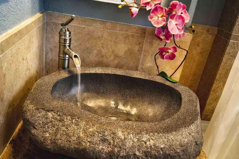 BAMBOO 2: bathroom #2, stone vessel vanity.