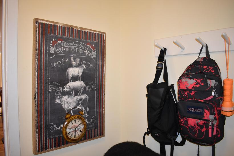 Greeting from Mud Room - backpacks in case you need them, flashlight