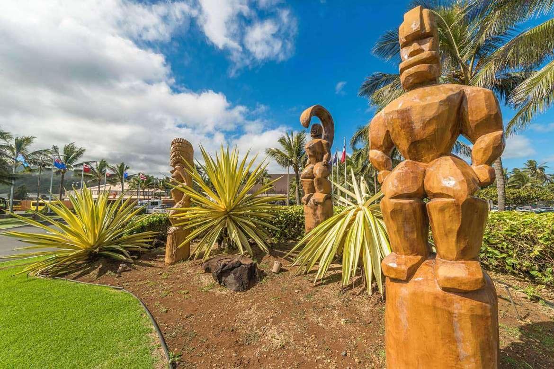 Carvings at Polynesian Cultural Center walking distance from Tiki Moon Villas