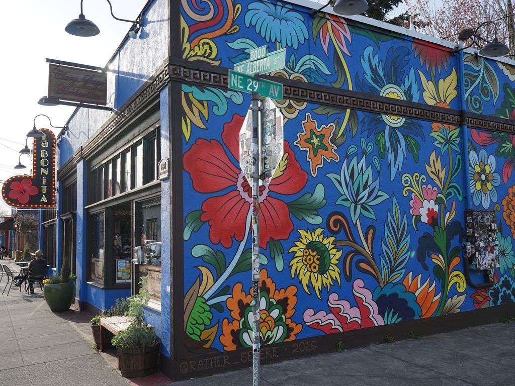 Colorful murals and street art make Alberta Street so lively and unique.