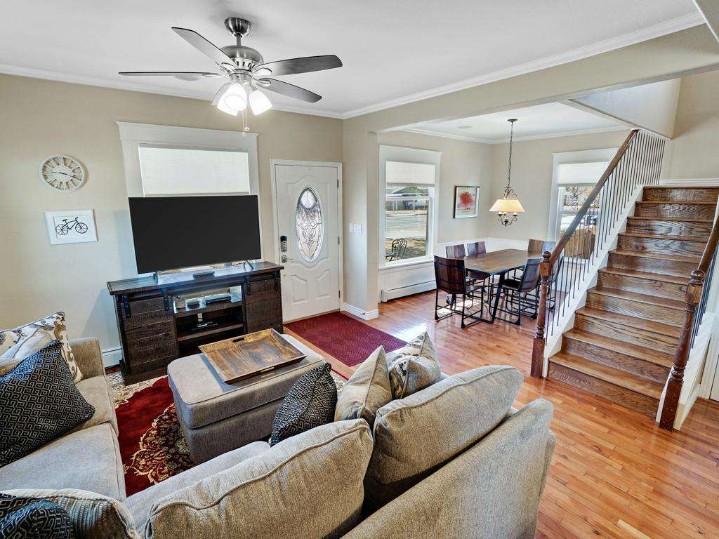 Stairs lead to a loft master bedroom.