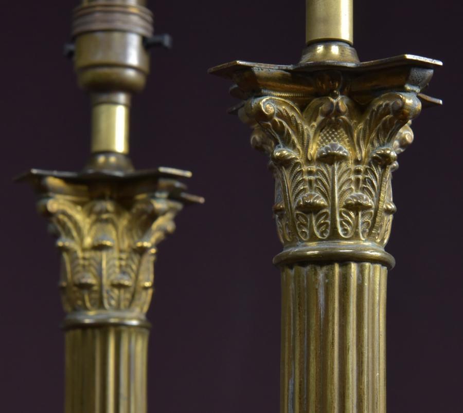 Antique Reclaimed Listings Pair Corinthian Column Table Lamps Salvoweb Uk