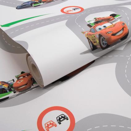 papier peint disney cars racetrack gris