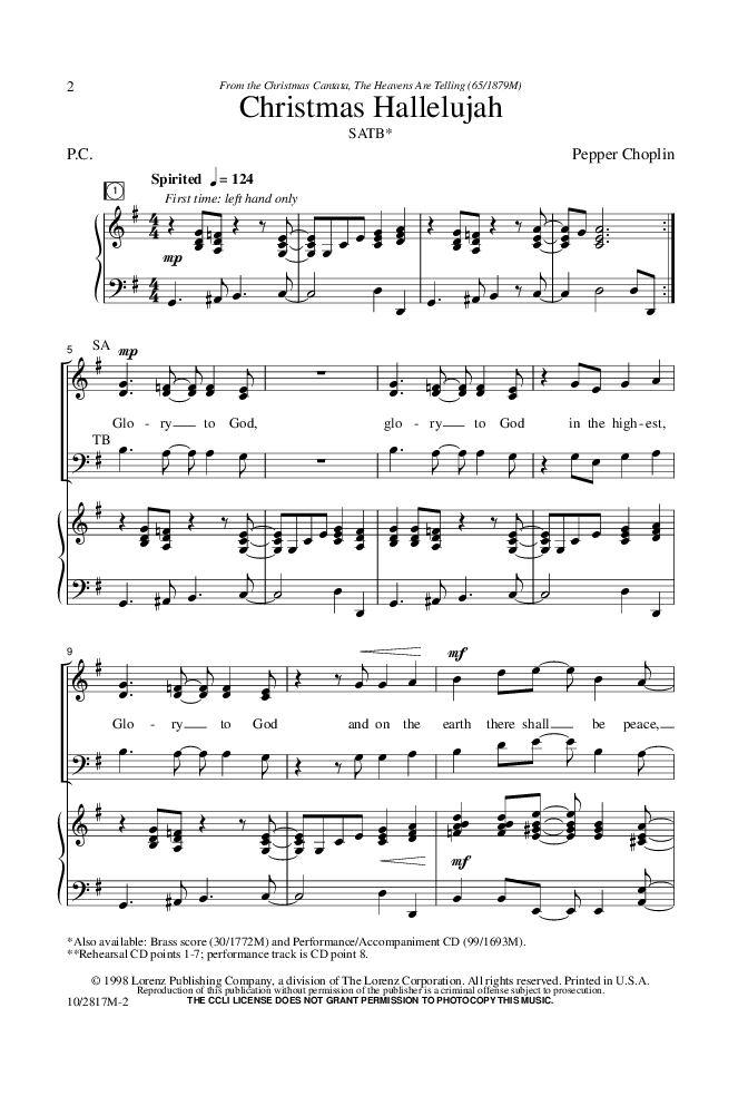 Christmas Hallelujah Sheet Music.Cloverton A Hallelujah Christmas Sheet Music Pdf