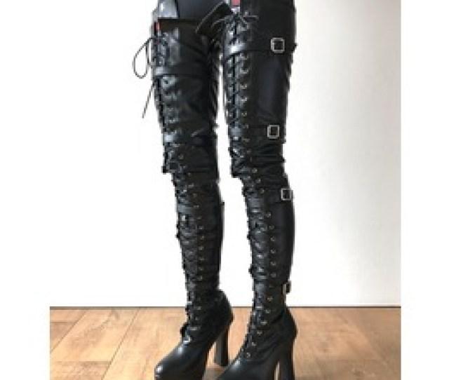 Chuk 12cm Spool Heel Platform Crotch Goth Punk Pinup Cosplay Fetish Boots