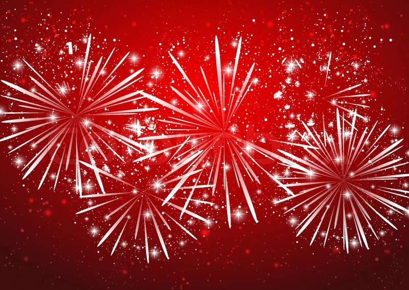 Shiny Fireworks On Red Background Stock Vector Colourbox
