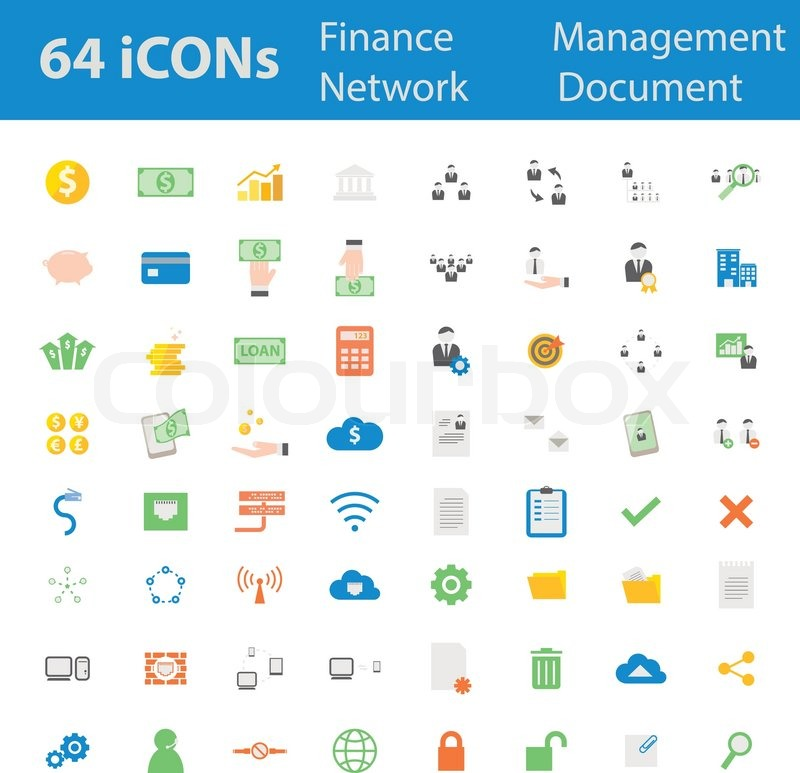 64 Quality Design Modern Vector Illustration Icons Set As