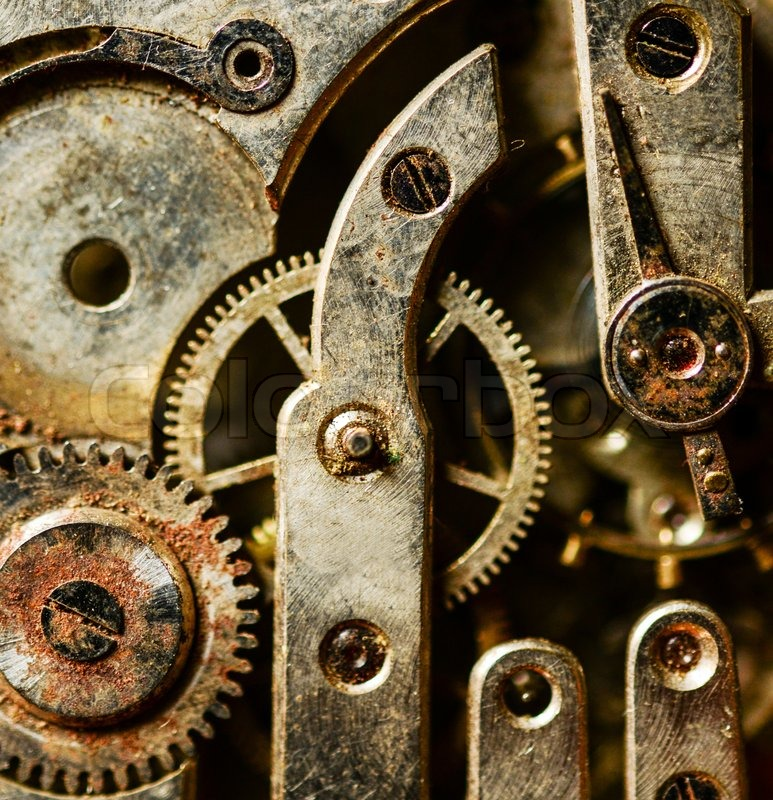 Extreme Macro Shot Of Vintage Rusted Clock Mechanism
