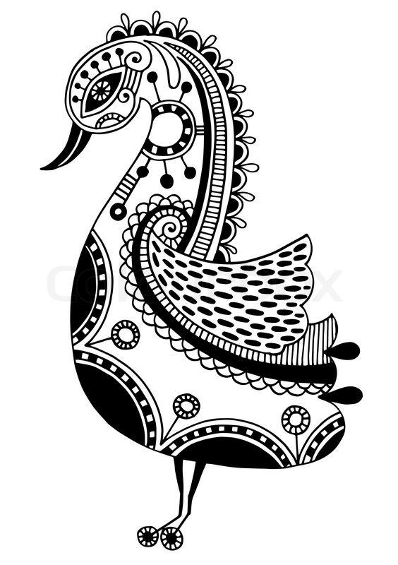 Ink Drawing Of Tribal Ornamental Bird Stock Vector