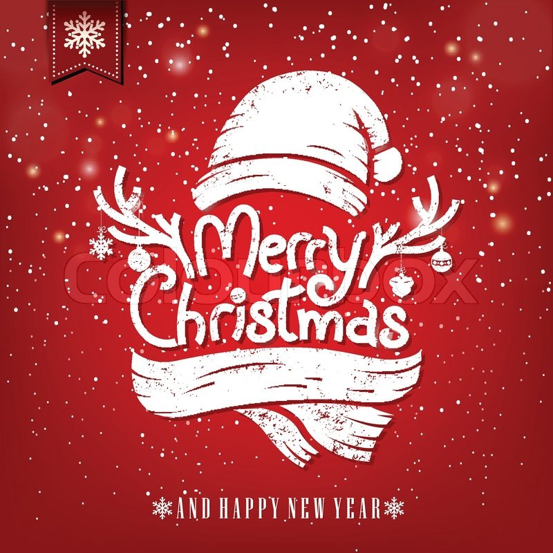Christmas Greeting Card With Chalk Merry Christmas