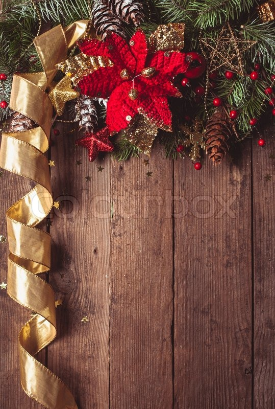 Christmas Border Design With Red And Gold Baubles Stock