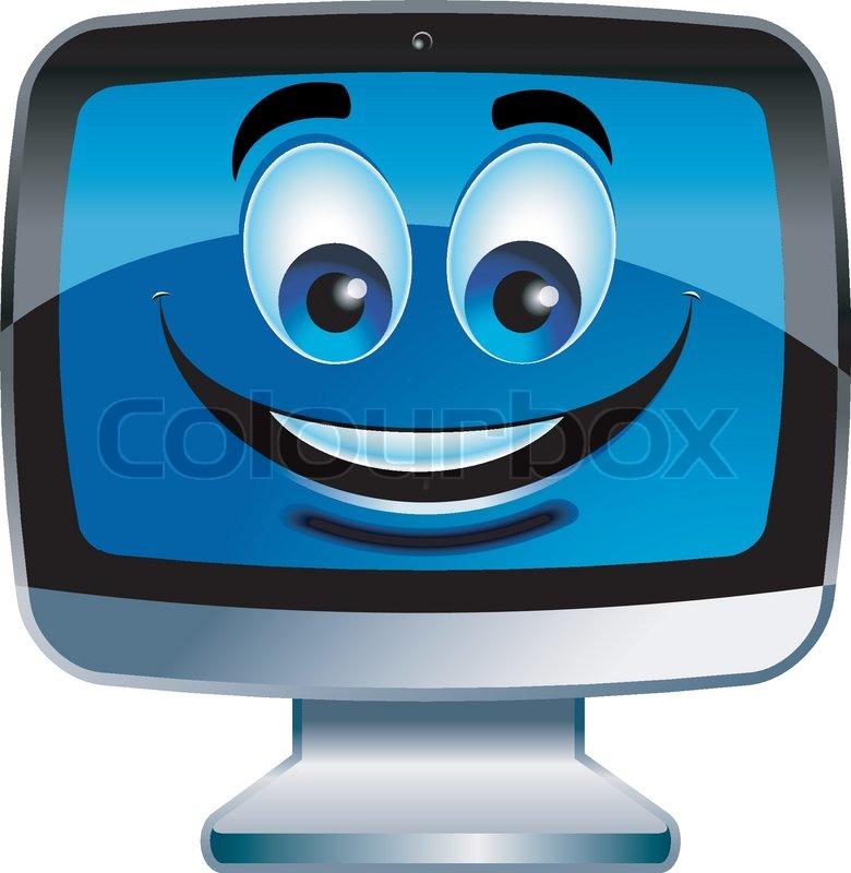 Cartoon Computer Monitor Stock Vector Colourbox