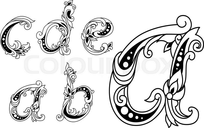 Calligraphic Floral Lower Case Alphabet Letters A B C D
