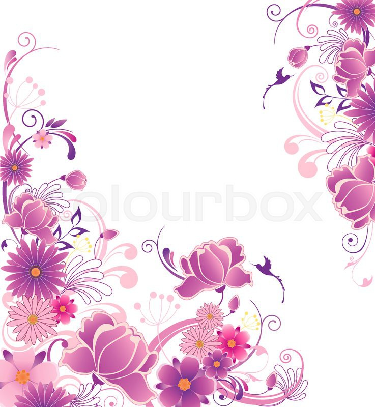 Decorative Vector Floral Background With Pink And Violet