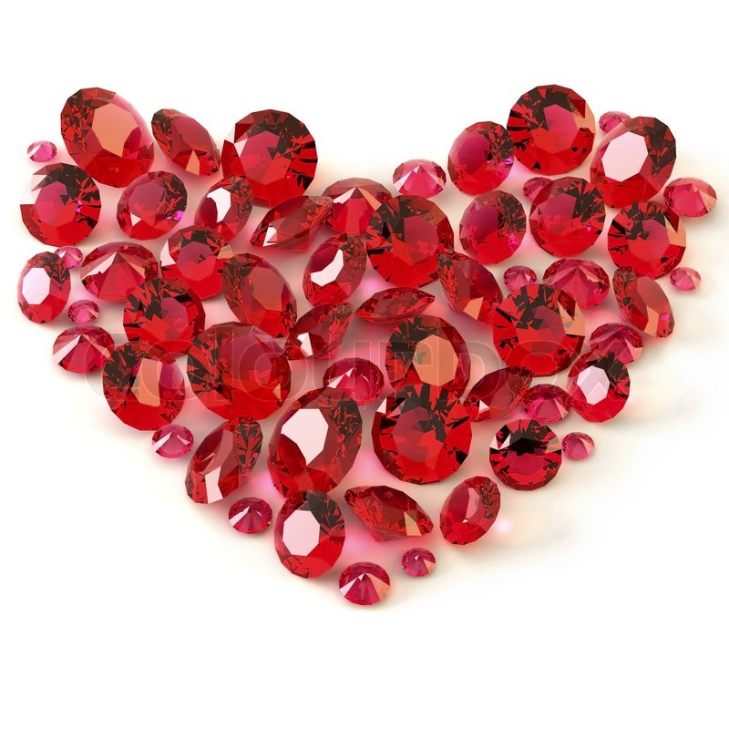 Heart Of Rubies On White Background Stock Photo Colourbox