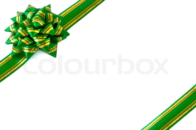 Green Ribbon Bow Isolated White Background Christmas