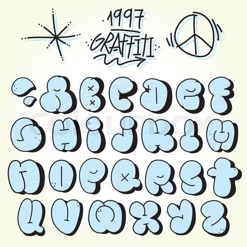 Graffiti Hand Drawn Bubble Vector Font Set Stock Vector
