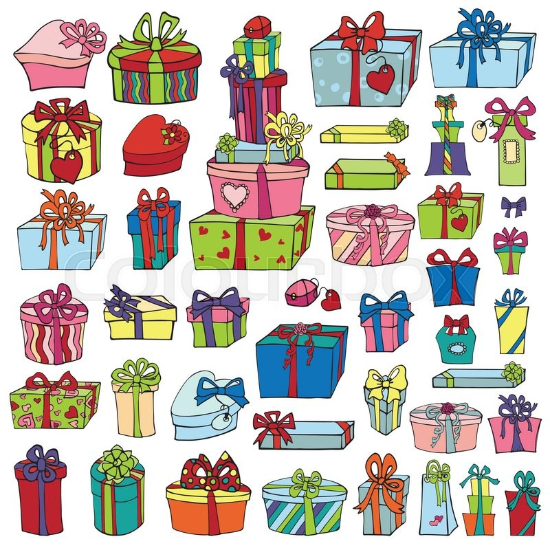 Gift Boxespresents Lored Holiday Doodle Isolated