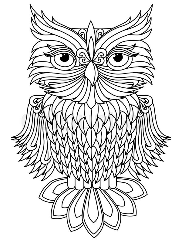 Amusing Big Owl Black Outline Isolated On The White Background