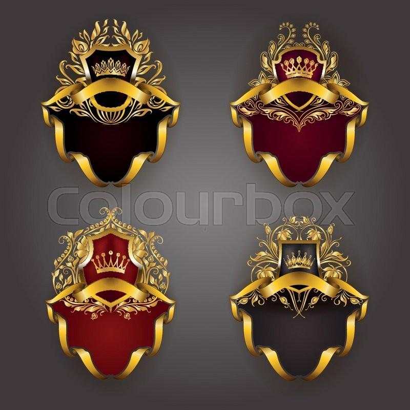Set Of Golden Royal Shields For Graphic Design On