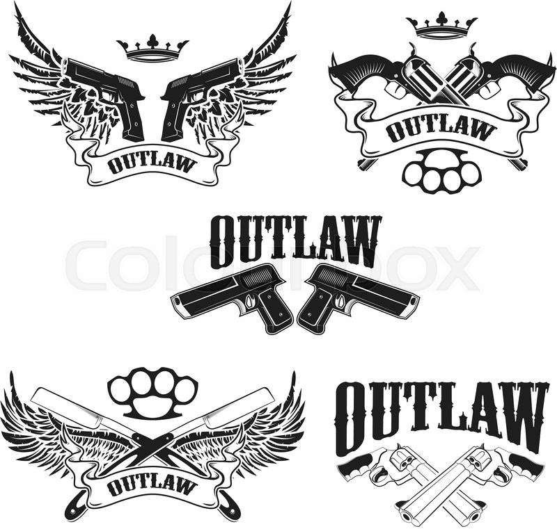 Set Of Outlaw T Shirt Print Design Stock Vector