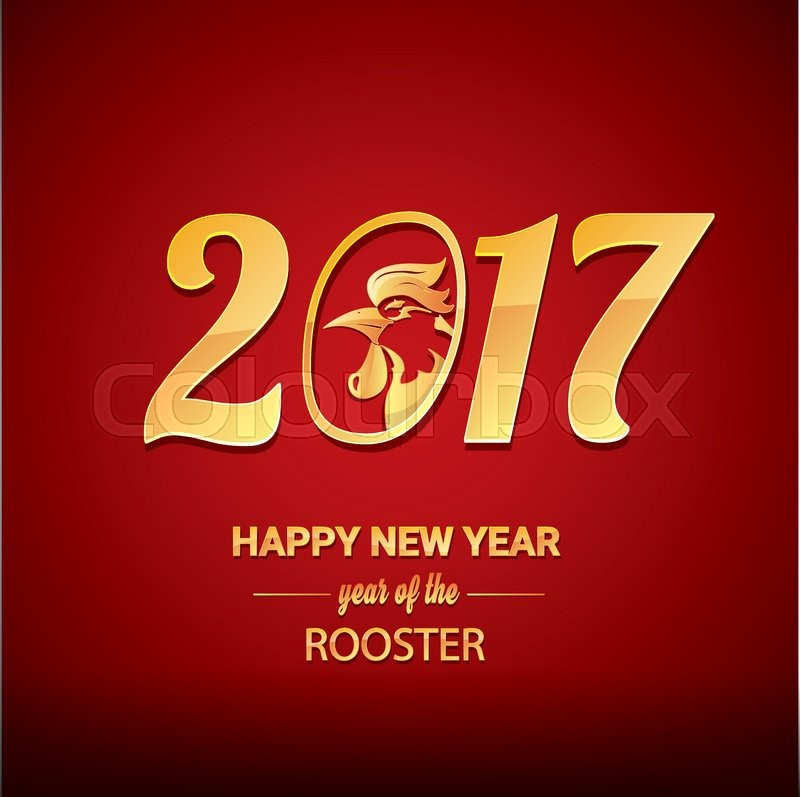 Happy Chinese new year 2017 with golden rooster   animal symbol of     Happy Chinese new year 2017 with golden rooster   animal symbol of new year  2017   Stock Vector   Colourbox