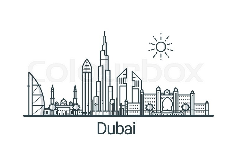 Linear Banner Of Dubai City All Buildings Customizable