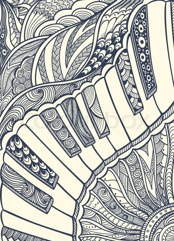 Zen Doodle Piano Keyboard With Zen Tangle Ornament Style