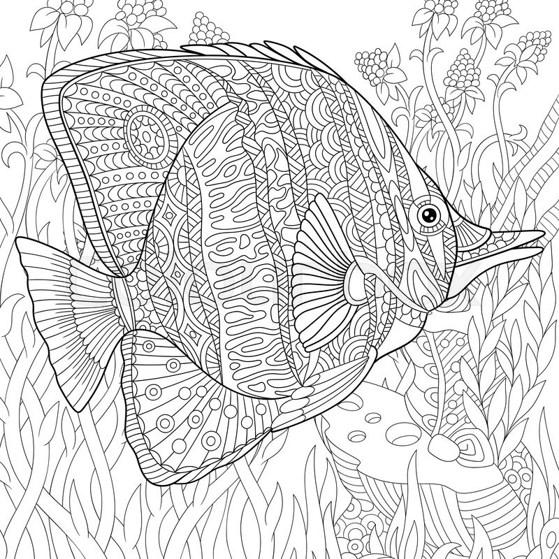 Zentangle Stylized Cartoon Butterfly Fish Swimming Among