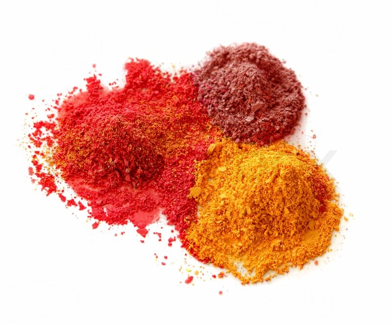 Spicy Color Powder Chalk Dust On White Background Isolated