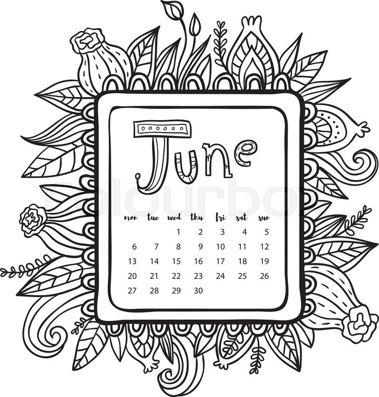 June 2016 Calendar Doodle Frame Cute Floral Decorated