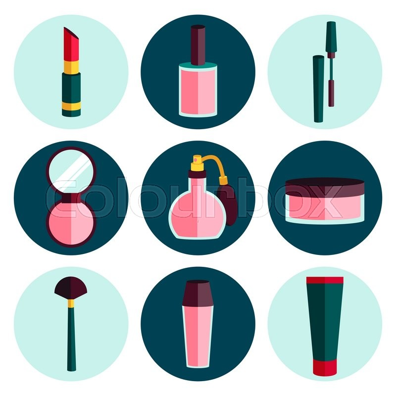 Beauty And Makeup Cosmetic Flat Icon Set Stock Vector