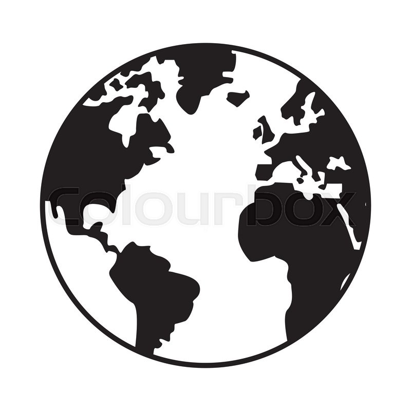 World map globe earth icon isolated vector illustration   Stock     World map globe earth icon isolated vector illustration   Stock Vector    Colourbox