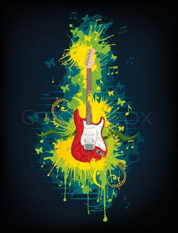 Electric Guitar With Abstract Swirl Isolated On Background